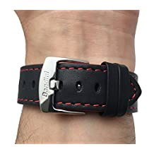Leather Watch Strap Band, Racer, 18mm, Black with Red Stitching