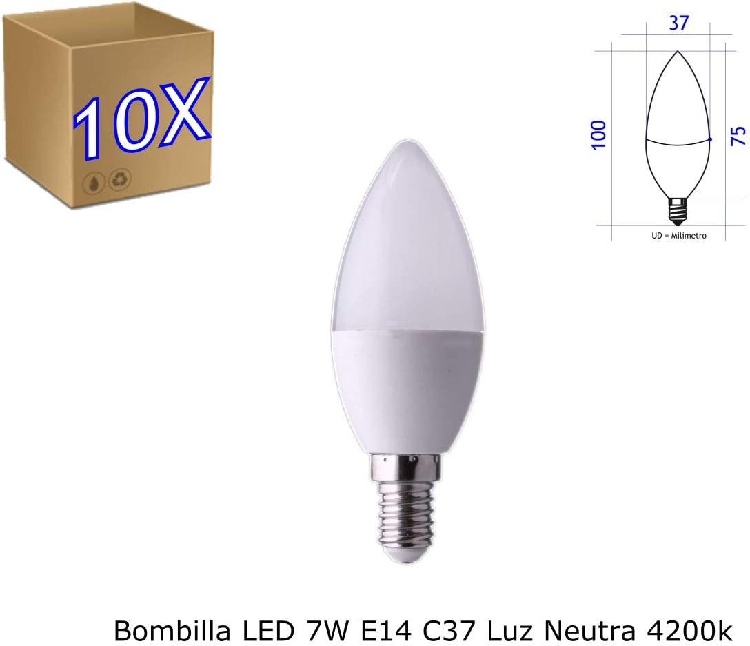 Jandei - 10 x Bombilla Led E14 C37 de 7W equivalente a 60W, 330º de apertura, en luz blanca neutra 4200K: Amazon.es: Iluminación