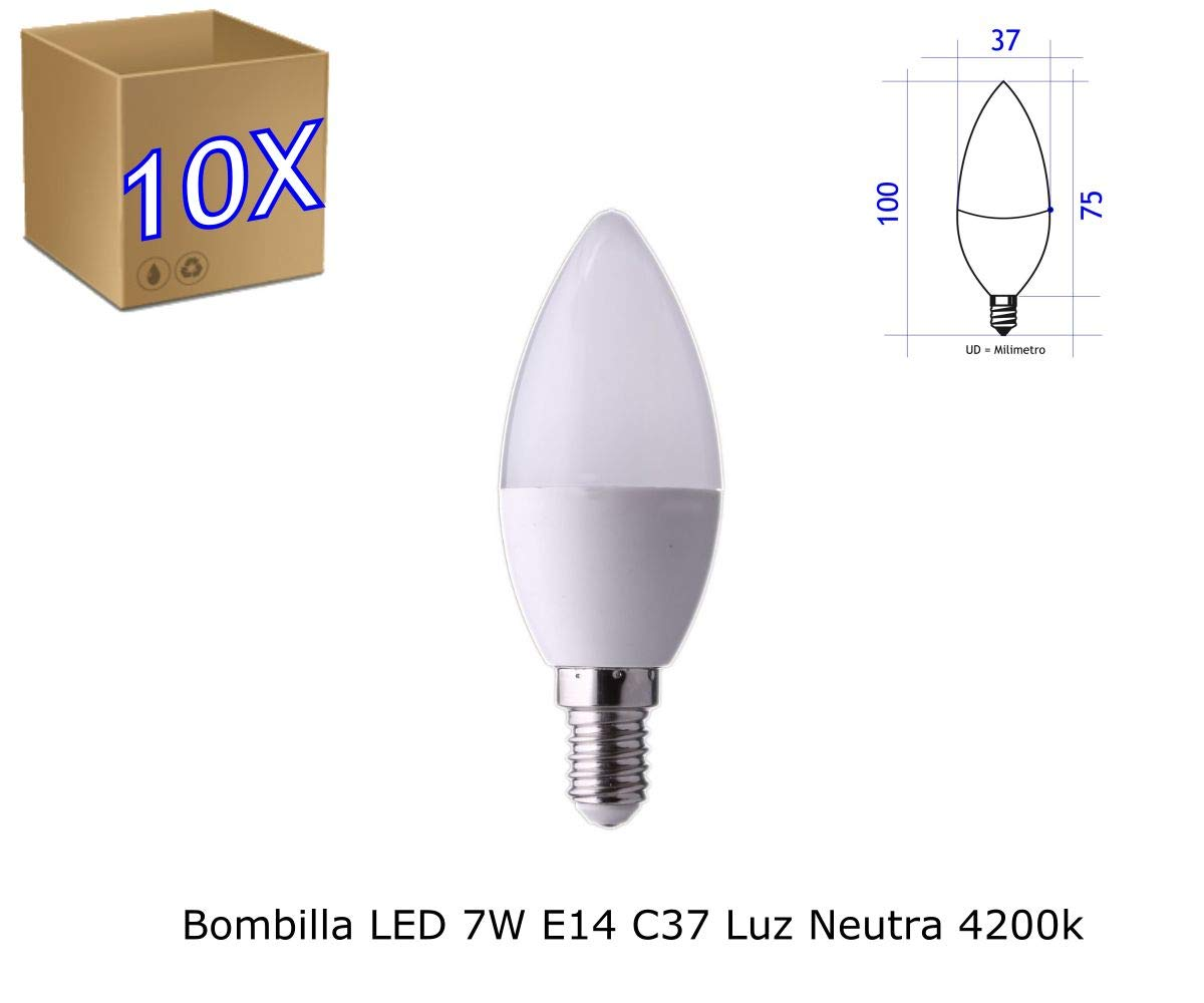 Jandei - Pack de 10 Bombillas LED Vela C37, Casquillo E14, 7W, Luz Blanca Neutra 4200K: Amazon.es: Iluminación