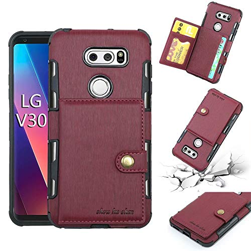 Ranyi LG V30 Case, LG V35 ThinQ Case, LG V30+ / V30 Plus/ V30S ThinQ Case, Flip Wallet Hard Cover [Card Slots] [Magnetic Buttons] Shock Absorbing Premium PU Leather Protective Rugged Case (deep red)