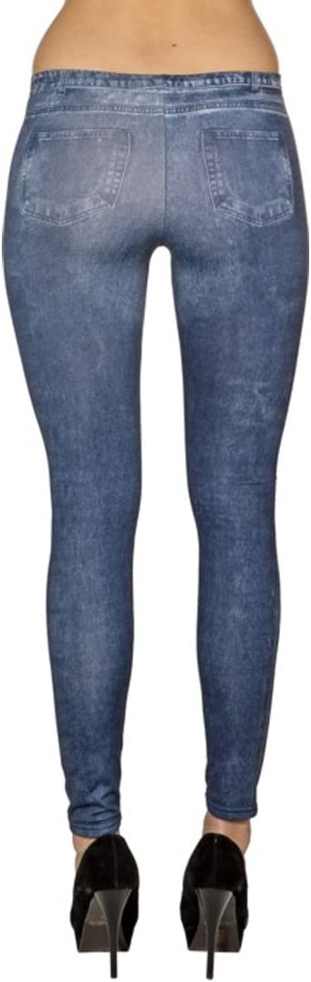 Pantacollant Effetto Denim Fuseaux Effetto Denim IT 40-46 Amakando Leggins Jeanslook | Leggings con Effetto Jeans S//M