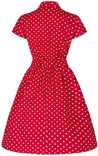 Style Rouge ceinture Polka 's avec T Shirt Wardrobe Vintage Robe Flirty Dot Dguisement vase XqwgBxOtH