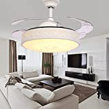 TiptonLight White Retractable Ceiling Fan-36 Inch with 4 Leaves-Simple Style for Bedroom,Living Room,Indoor,Outdoor and Children's Room