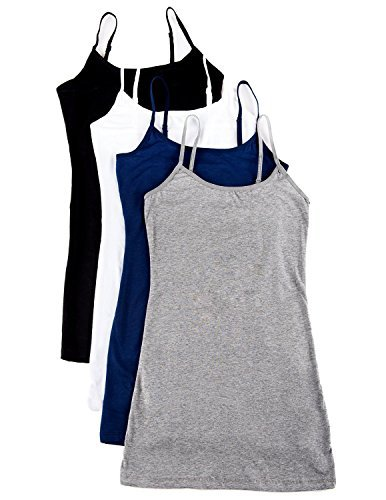 3 or 4 Pack: Active Basic Cami Tanks in Many Colors (Large, Black/Gray/White/Navy)