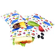 Langsprit Premium Reusable Sandwich & Snack Bags- Eco Friendly Dishwasher Safe Lunch Bags - Set of 3 - (Blue Whale)