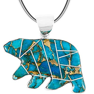 "Bear Pendant Necklace 925 Sterling Silver Genuine Turquoise & Gemstones (24"" Length)"