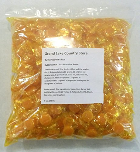 Bulk Hard Candy (Butterscotch Discs 5 Lbs Bulk Hard Candy Approx. 425)