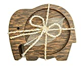 IYARA CRAFT Wood Coasters for Drinks Tea Cups Saucers,Table topper decoration set Elephant shape (Palm wood)