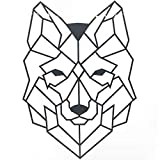 Cool Design Impressionism Wall Decoration Modern Art Metal Wall Sculpture for Office Bedroom Living Room (Cast Iron Wolf, 14.5 x 20 Inch, Black)