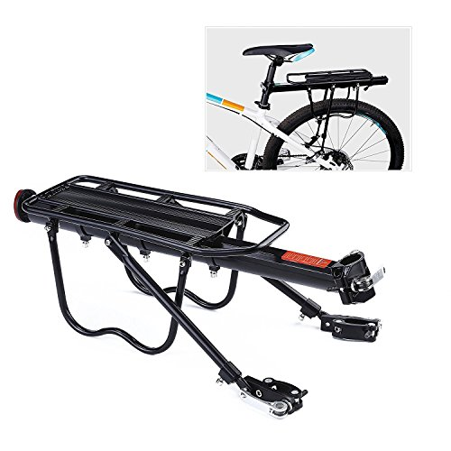 PEXIQAKA Bike Carrier Rack 110 LB Capacity Solid Bearings Universal Adjustable Bicycle Luggage Cargo Rack, Upgrade Quick Release Rack