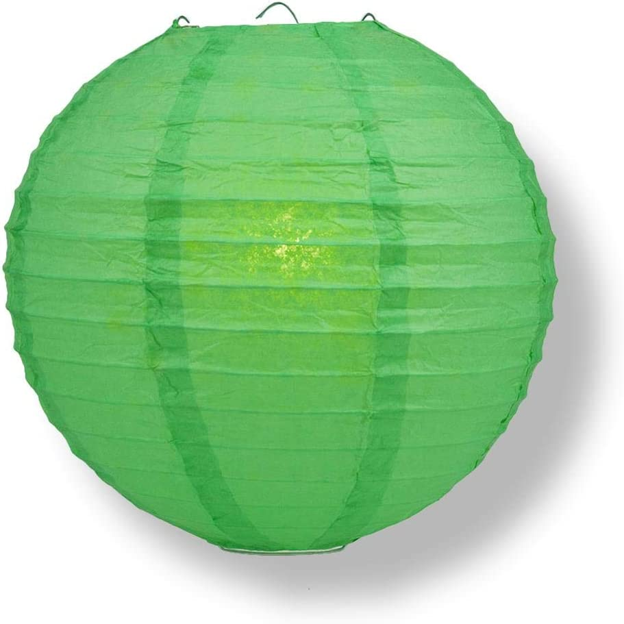 Quasimoon PaperLanternStore Decorative Paper Lantern - (Single, 12-Inch, Emerald Green, Even Ribbing) Round Paper Lantern - Ideal Wedding and Party Decor or Home Accent, Lighting Optional