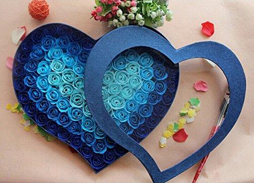 Wedding Soap Heart Favors - 100pcs Fragrant Rose Bud Petal Soap Wedding Favor+ Heart Shape Box (blue)