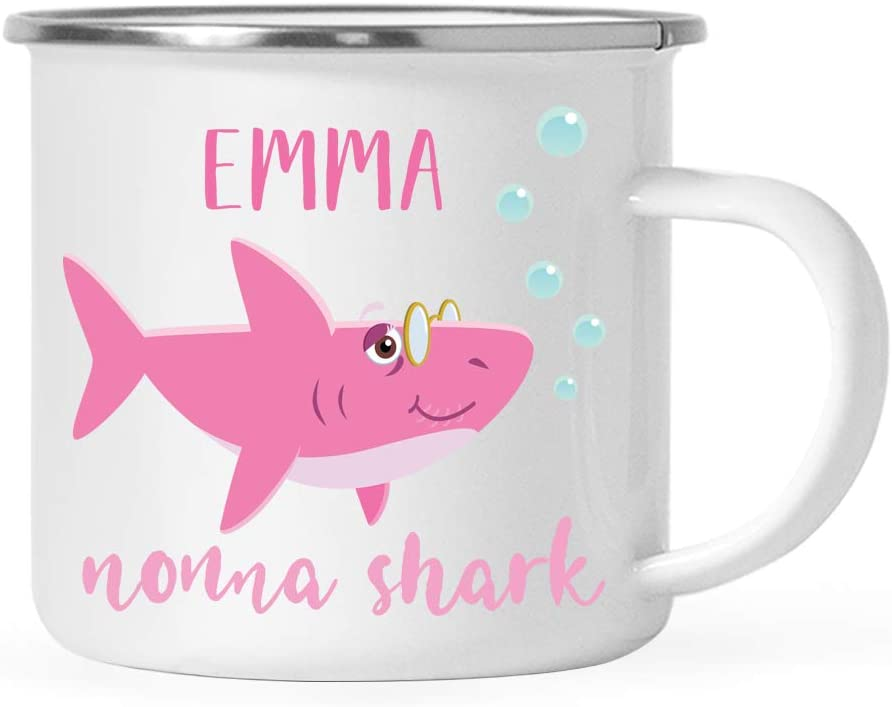 Andaz Press Personalized Baby Shark Family 11oz. Stainless Steel Campfire Coffee Mug Gift, Nonna Shark, 1-Pack, Custom Camp Cup Shark Do Do Do Birthday Christmas Gifts Ideas for Nonna