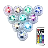 10Pack Mini Submersible Lights,LUXJET Waterproof Underwater Lights with Remote Control,Colorful Mood Lights for Aquarium, Vase, Pond, Swimming Pool, Garden,Party