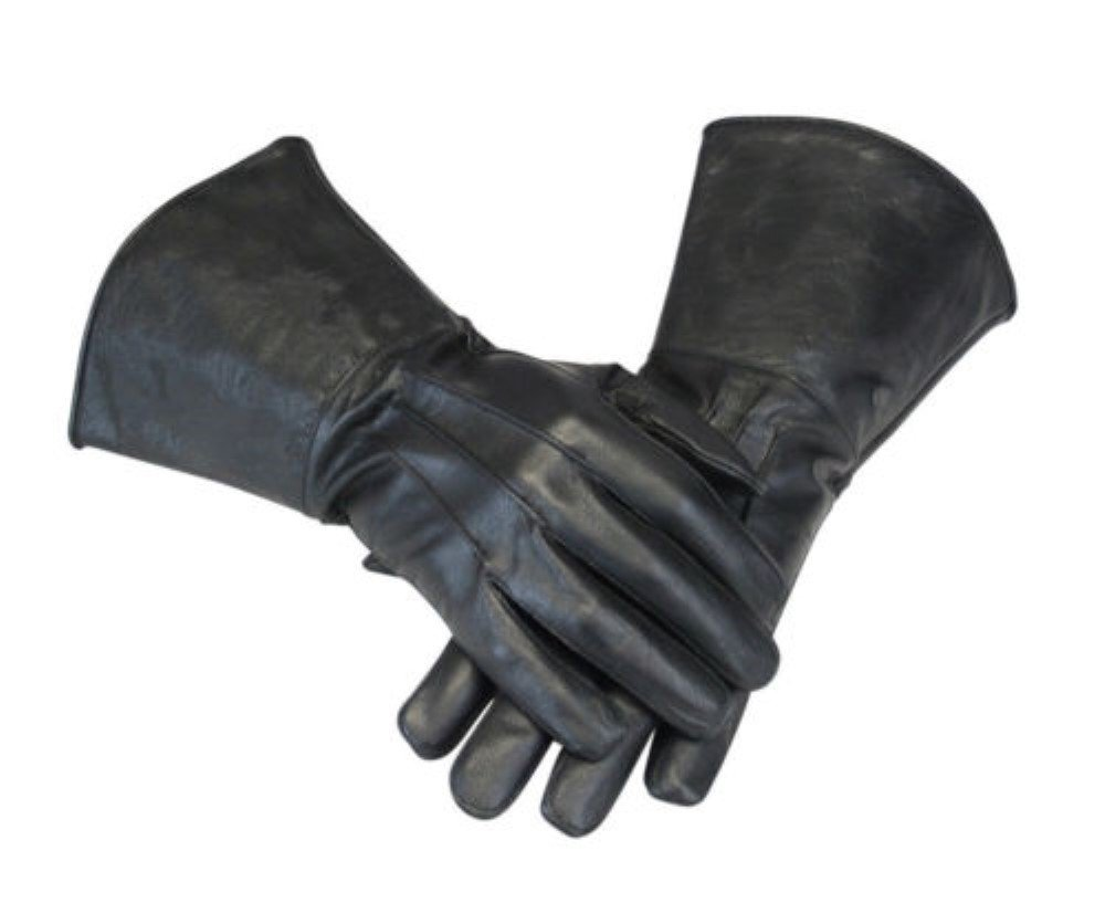 Men's Motorcycle Unlined Summer Riding Biking Leather Gauntlets (LARGE, BLACK)