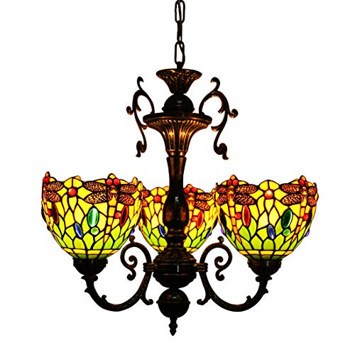 Makenier Vintage Tiffany Style Stained Glass 3 Arms Green Dragonfly Floral Lampshades Chandelier