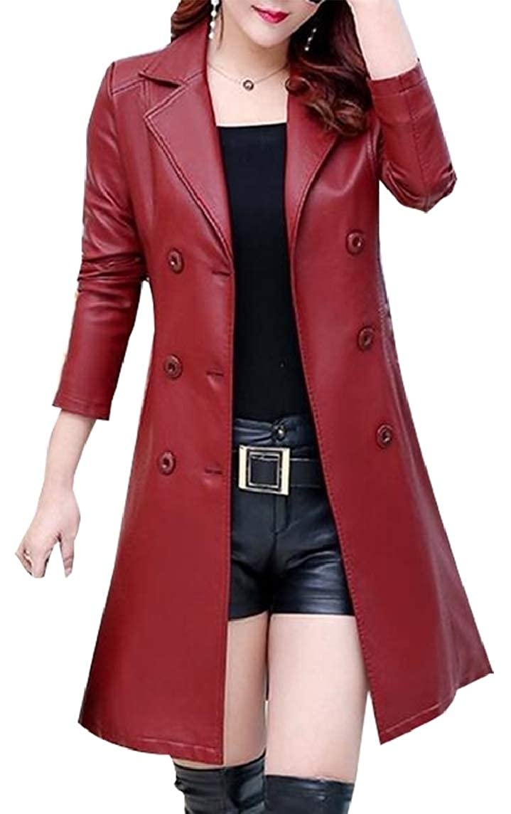 4 Sanderso Women Double Breasted Belted Tailored Lace Trench Coat Jacket