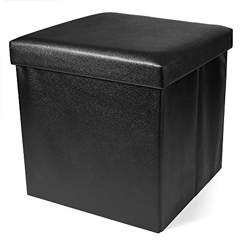(Titan Mall Leather Foldable Storage Ottoman Foot Rest Collapsible Ottoman Coffee Table RV Seat (Black, 15