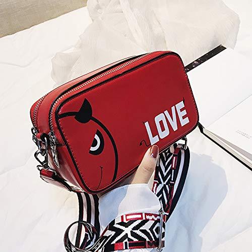 Femme épaule Mode à Sac WSLMHH carré personnalité Large marée Bag bandoulière Messenger Rouge Petit Bande Sauvage Sac OBt5Yqw
