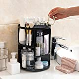 Ideapro Makeup Organizer Box, 360° Rotating Adjustable DIY Cosmetics Storage Holder Bins, Compact Vanity Shelf Boxs (Black)