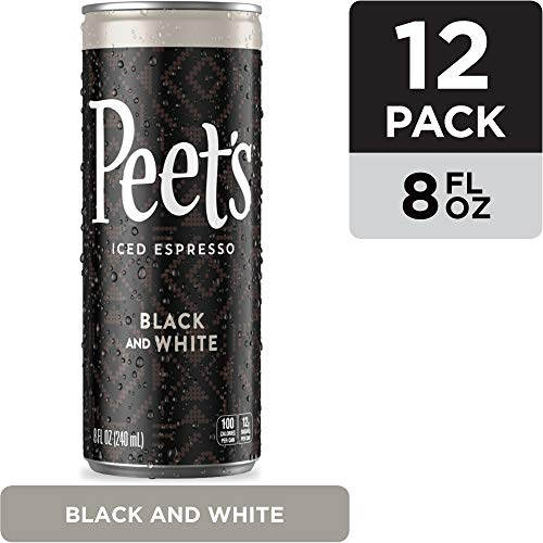 Peets Iced Espresso Black & White 8 oz, Single Origin Colombian Espresso, Lightly Sweetened, 100 calories, 12 pack