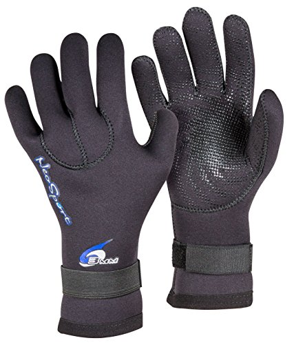 Neo-Sport 3MM & 5MM Premium Neoprene Five Finger Wetsuit Gloves with Gator Elastic Wrist Band. Use for All Watersports, Diving, Boating, Cleaning gutters, Pond and Aquarium Maintenance.