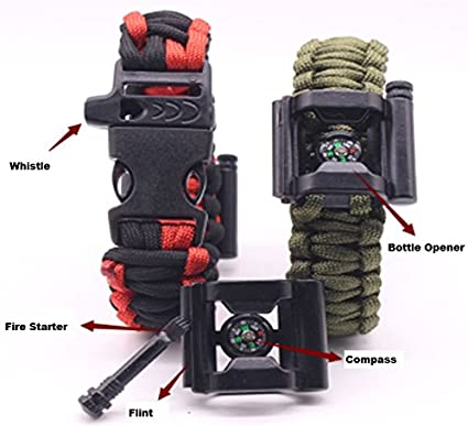 Survival ParaCord Bracelet With Camping Gear,Compass,Whistle,Fire Starter Scrape