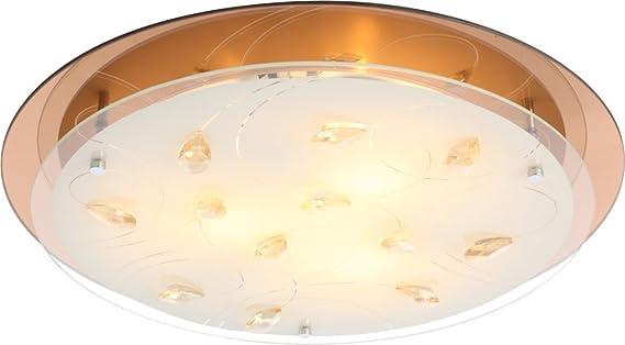 Plafoniera Globo Lighting : Traditionelle deckenleuchte chrom glas opal mit muster kristalle