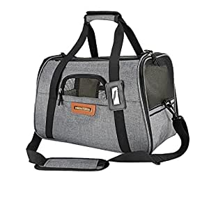 Premium Pet Travel Carrier, Airline Approved, Soft Sided, Comes with Two Pet Mats, Perfect for Small Dogs and Cats (Charcoal Grey)