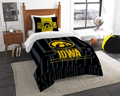 The Northwest Company Officially Licensed NCAA Iowa Hawkeyes Modern Take Twin Comforter and Sham