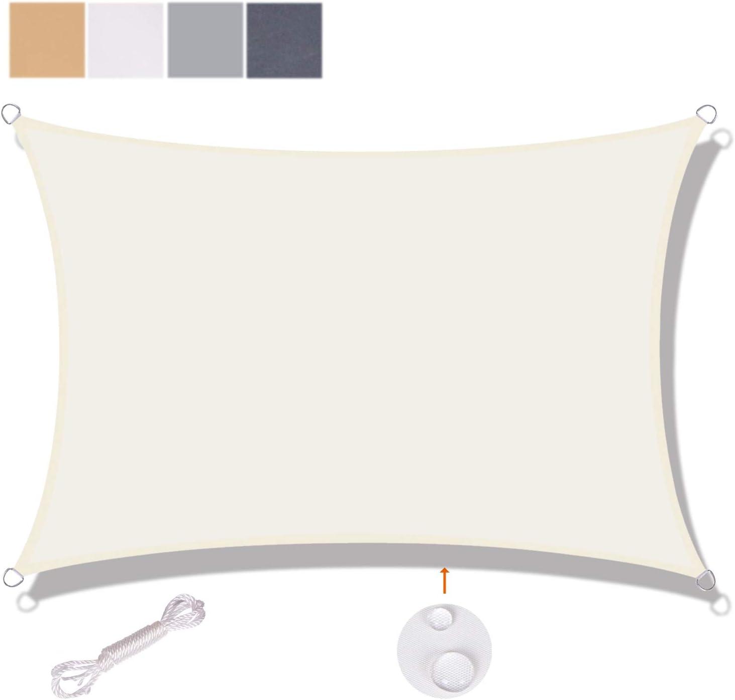 SUNNY GUARD Tenda a Vela Rettangolare 2x2m Antivento Impermeabile Protezione Raggi UV per Giardino terrazza Campeggio Sabbia
