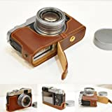 Handmade Genuine real Leather Half Camera Case bag cover for FUJIFILM X20 X10 Brown Bottom opening Version