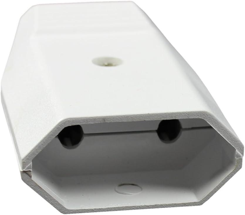 05 Piezas - Blanco montable con conexi/ón por Tornillo Enchufe de alimentaci/ón Acoplamiento Plano con protecci/ón contra Pliegues com-four/® 5 acoplamientos Euro