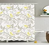 Ambesonne Grey Decor Collection, Birds on the Branch with Pastel Colored Leaves on Dotted Background Nature Art Home, Polyester Fabric Bathroom Shower Curtain, 75 Inches Long, Yellow Gray White