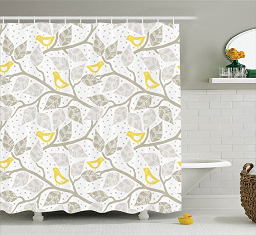 yellow and white shower curtain - 9