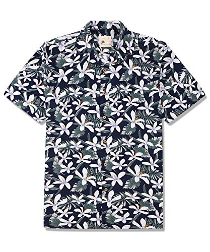 Mens Hawaiian Shirts Aloha Summer Beach Short Sleeve Casual Button Down Shirt(Whiteflower, XXLarge Blue ()