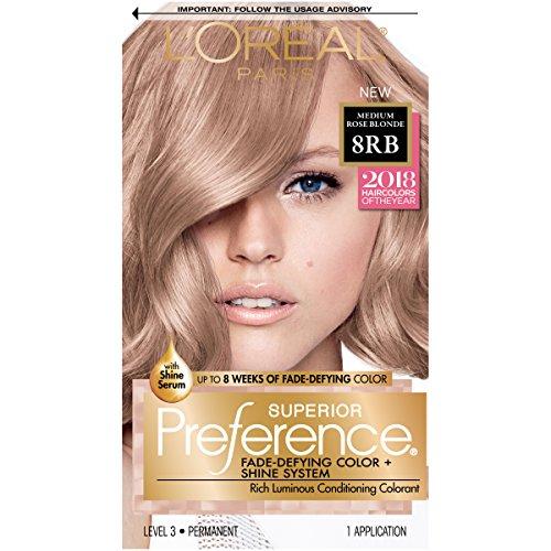 Medium Rose (L'Oréal Paris Superior Preference Permanent Hair Color, 8RB Medium Rose Blonde)