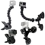 GreatCool Suction Cup Car Mount Holder with 360 Degree Mount+Jaws Flex Clamp Mount