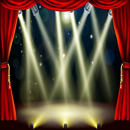 5x7ft Red Curtain Broadway Stage Lighting High-Grade Portrait Cloth Computer Print Party Wedding Wall Party Background MR-1960