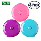 #6: 3 Pack Tape Measure 150 Cm 60 Inch Push Button Tape Body Measuring Soft Retractable For Sewing Double-Sided Tailor Cloth Ruler (Pink Purple Sky Blue) By BUSHIBU