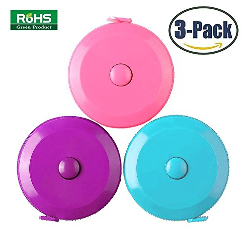3 Pack Tape Measure 150 Cm 60 Inch Push Button Tape Body Measuring Soft Retractable For Sewing Double-Sided Tailor Cloth Ruler (Pink Purple Sky Blue) By BUSHIBU