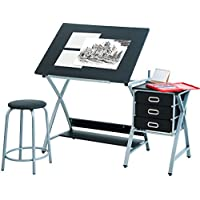 Harper&Bright Designs Folding Drafting Table Drawing Desk with Drawers and Stool (Black)