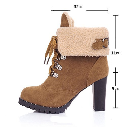 Maybest Women Thick Heel Ankle Boots Heels Lace Up Short Martin Boots Yellow C7Iq6ddA