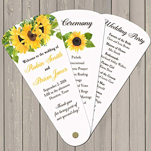 Wedding Program Petal Fans Assembled Set of 50 - Sunflower Rustic Collection -
