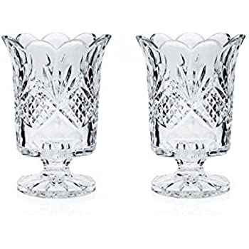 Amazon Com Fifth Avenue Portico 7 5 Inch Crystal Hurricane Candle Vase Home Amp Kitchen