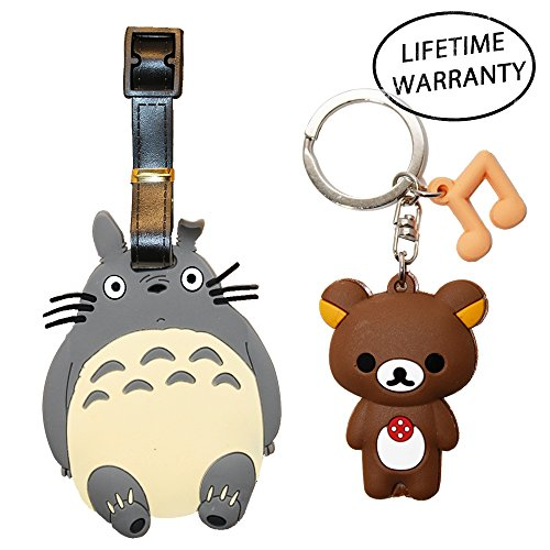 Price comparison product image DIYJewelryDepot Cute Neighbor Totoro Travel Luggage Tag w/ Rilakkuma Keychain