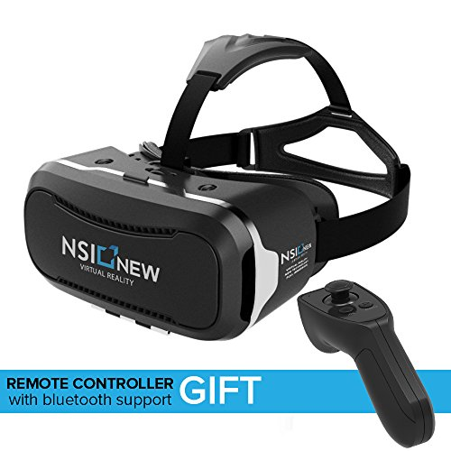 NSInew VR Headset or 3D VR Glasses - High-Definition VR Goggles for Virtual Reality Gaming, 3D Movies, 360˚ Videos, etc. - Comfortable VR Helmet - Bonus Bluetooth Remote