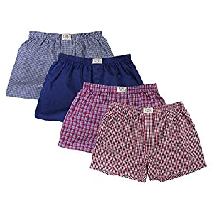 Fabio Farini Men's Woven Boxer Shorts Pack of 4, 100% Cotton