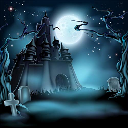 OFILA Halloween Party Backdrop 8x8ft Creepy Graveyard Photos Background Zombie Game Shoots Haunted Castle Full Moon Night Happy Halloween Events Kids Halloween Photo Shoot Studio Props]()