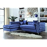 Iconic Home Da Vinci Tufted Gold Trim Navy Blue Velvet Left Facing Sectional Sofa with Gold Tone Metal Y-Legs